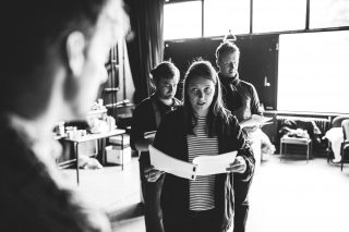 Ben Kernow, Dan Richards, Hannah Stephens and Benjamin Dyson in rehearsal for A Perfect World by Miracle Theatre May 2019