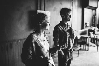Rose McPhilemy and Ben Kernow in rehearsal for A Perfect World by Miracle Theatre May 2019