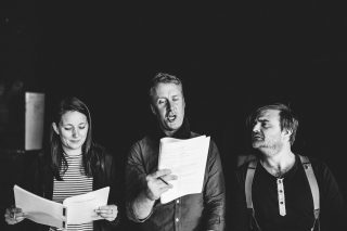 Hannah Stephens, Benjamin Dyson and Dan Richards in rehearsal for A Perfect World by Miracle Theatre May 2019