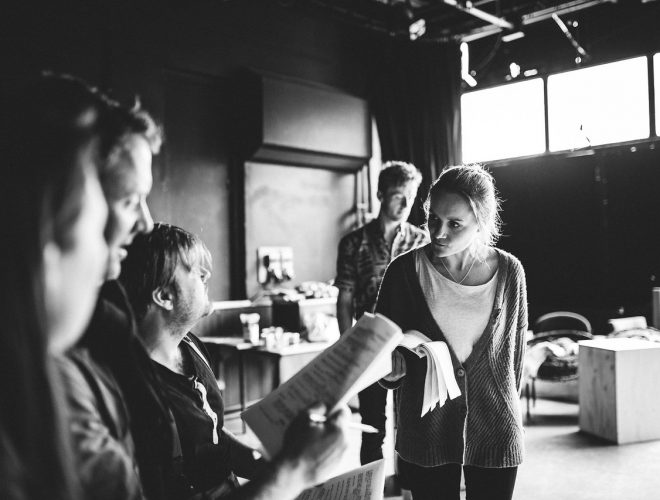 The full cast in rehearsal for A Perfect World by Miracle Theatre May 2019